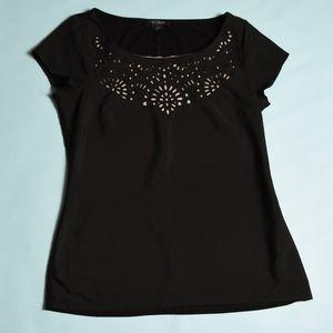 WHBM black shirt, Beige peek through design